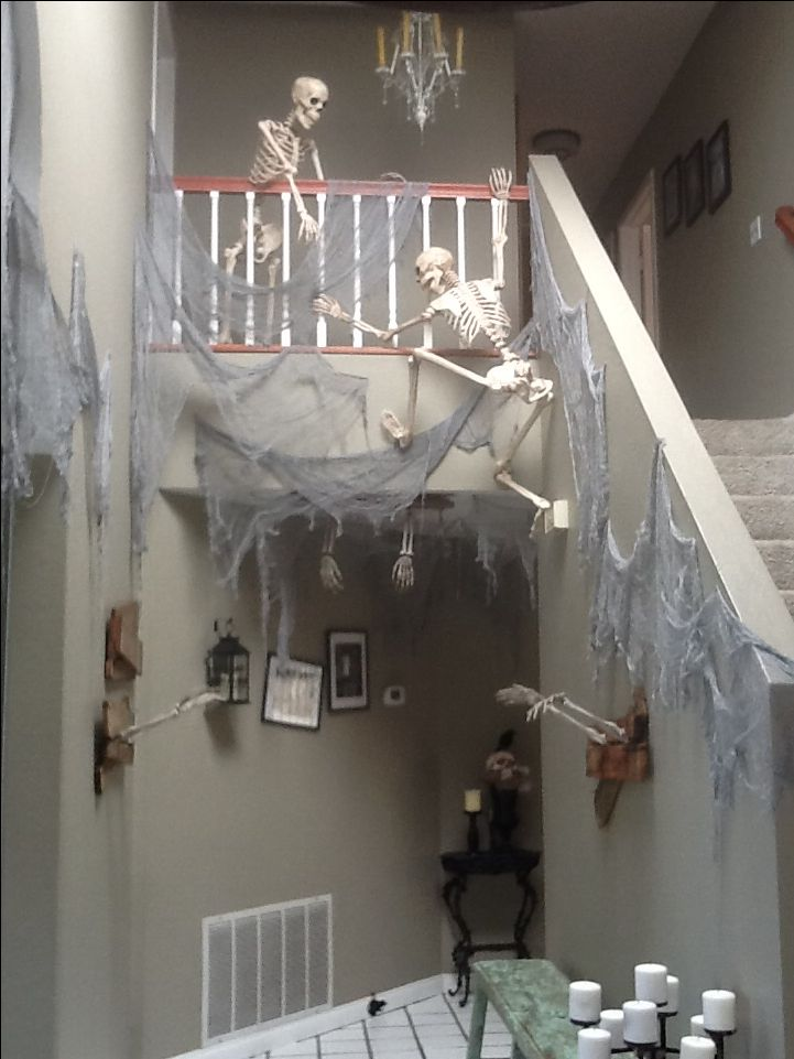 skeletons climbing the stairs is rather bone chilling see more party and halloween decoration ideas at one stop party id - Halloween Ideas For Home