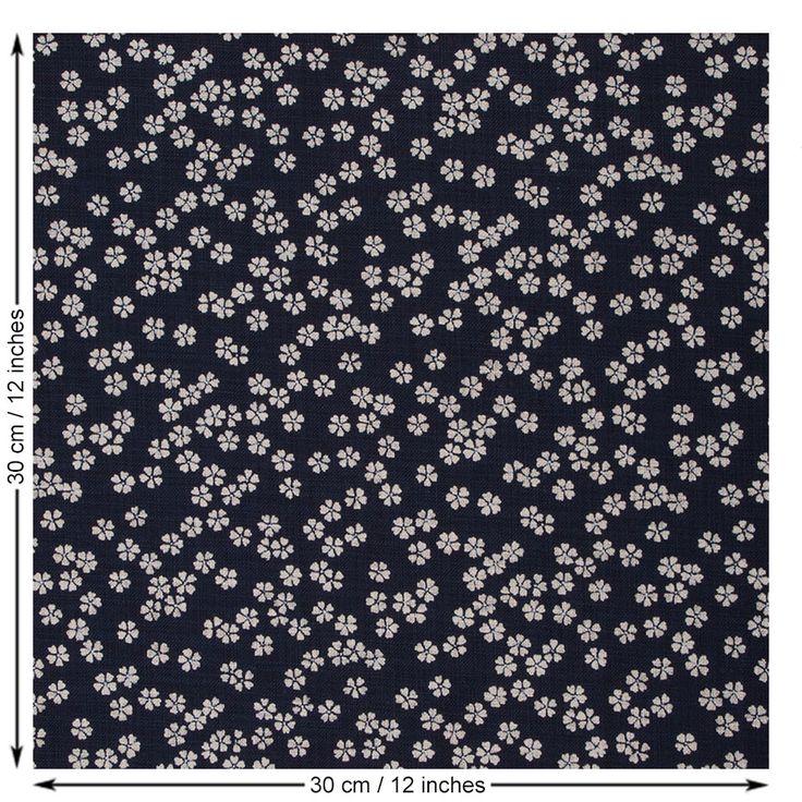 Sevenberry Small Flower Fabric. Indigo.