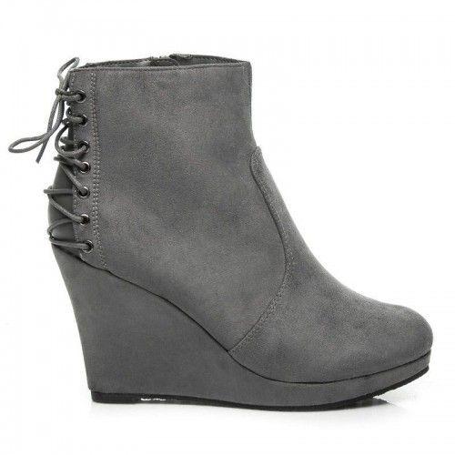 Dámské boty na klínu Caph šedé - šedá