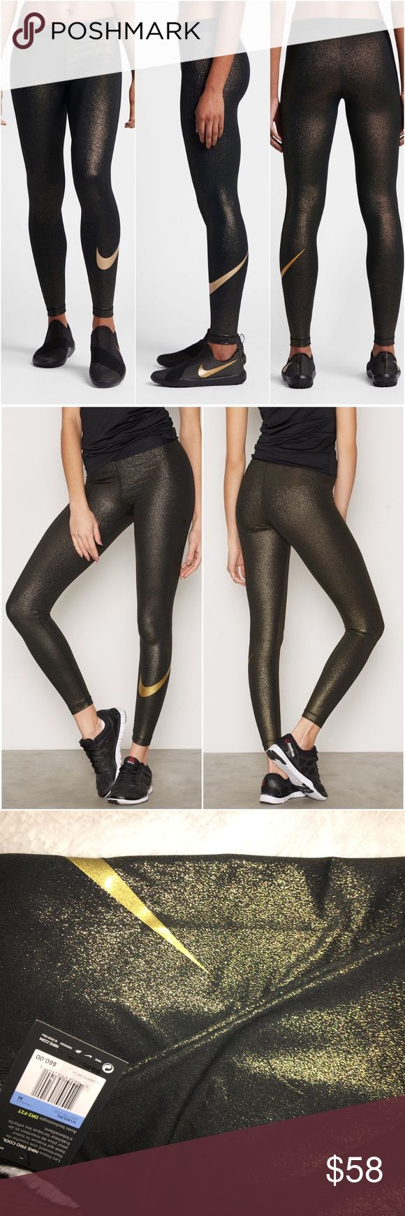 💛NWT💛 Gold and Black Nike Pro Cool Tights Practical AND sexy for your workout! Brand-new,  full length to ankle Nike gold and black shimmering exercise tights. Gold swoosh to left calf. Price is firm..thank you! No trades please. Nike Pants Track Pants & Joggers