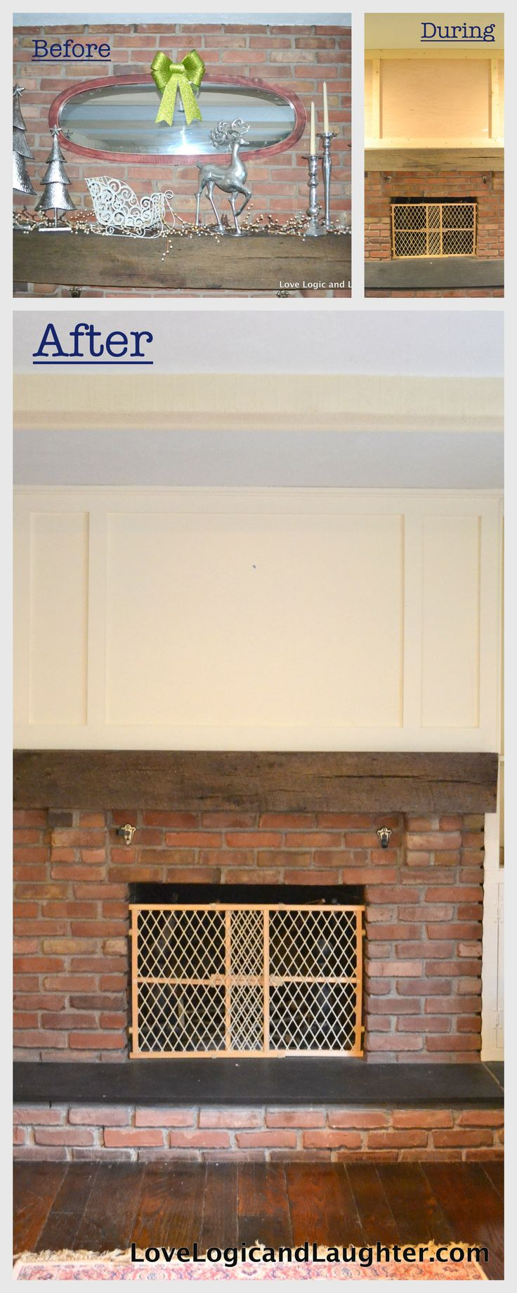 Diy Paneling A Fireplace Adding Wood Surround Over Brick