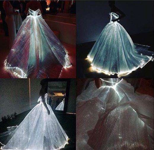 Fairytale Sky-Blue Transparent Glass  Cinderella Ball Gown