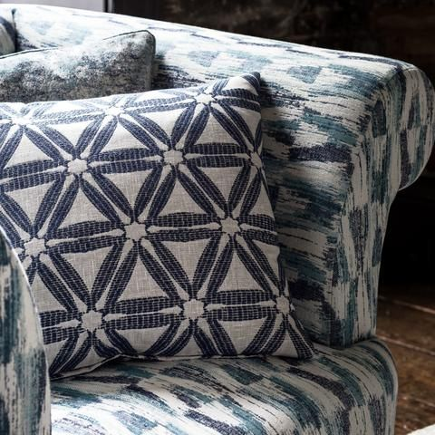 F1053/01 - Charcoal | This distinctive collection of decorative weaves features Ikat influences, striking geometric designs and chunky stitch detail | Buy online