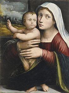 Giacomo Francia, (o Raibolini), Madonna col Bambino .