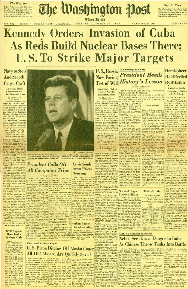 The Cuban missile crisis was a 14-day confrontation in October, 1962, between the Soviet Union & Cuba & the U.S. The crisis is regarded as the moment in which the Cold War came closest to turning into a nuclear conflict & is the first documented instance of mutual assured destruction (MAD) being discussed as a determining factor in a major international arms agreement. The confrontation ended on 10/28/1962, when Kennedy & UN Secretary-General U Thant reached an agreement with Khrushchev. (V)