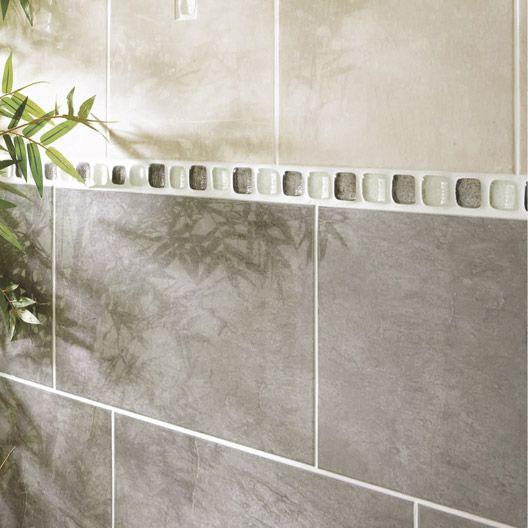 Carrelage mural atlantis en fa ence gris fonc 25 x 40 for Faience salle de bain carrelage gris