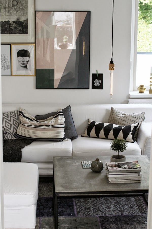 Neutrals and black: living room
