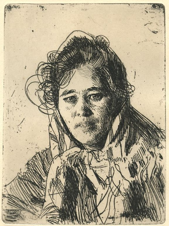 """etching by Anders Zorn, """"Anna, Mädchen aus Mora"""" also called """"Krakbergs Anna""""  6 ¼"""" x 4 5/8"""" .  Published in Berlin, 1908, printed by Paul Cassirer; plate-signed, not hand-signed"""