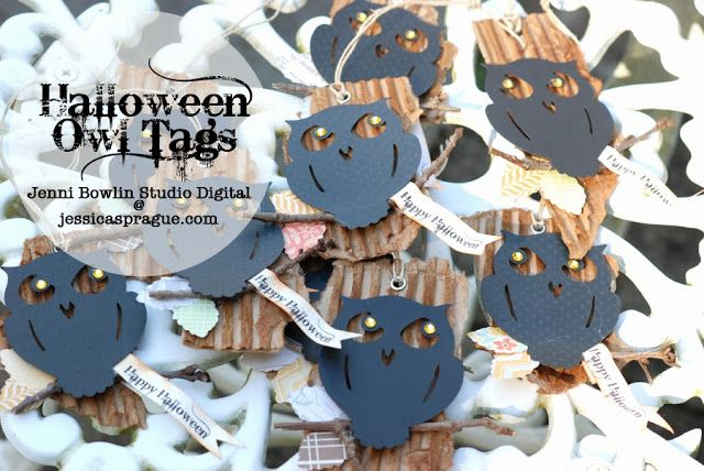 halloween owl tags using digital cutting file from jenni bowlin studio @ jessica sprague - this was done on silhouette