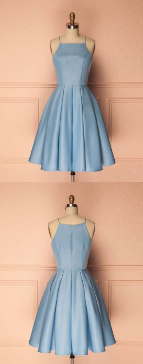 cute short blue prom dress, cute homecoming dress, blue bridesmaid dress