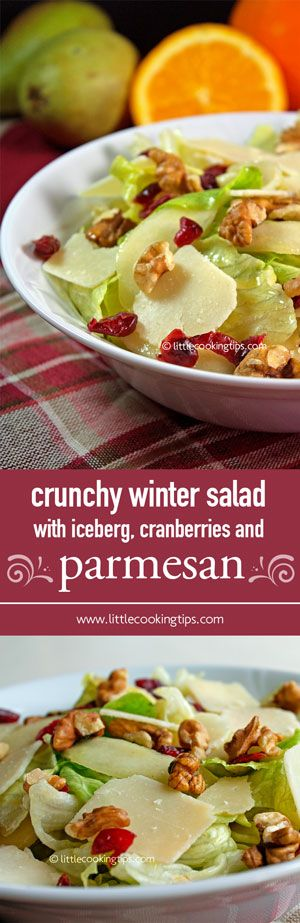 This Winter salad with iceberg, cranberries, pear, walnuts and parmesan cheese is a winner for any dinner table. It's fresh, crunchy, sweet, cheesy and full of flavors!   Repin to your own inspiration board! #salad #healthy #Winter #iceberg