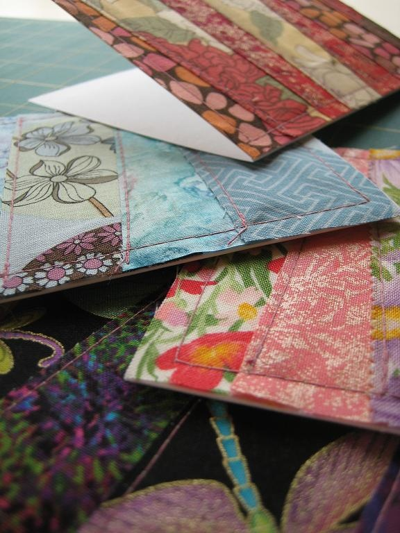 Patchwork Fabric Greeting Cards - Quilting Tutorials and Fabric Creations - Quilting in the Rain