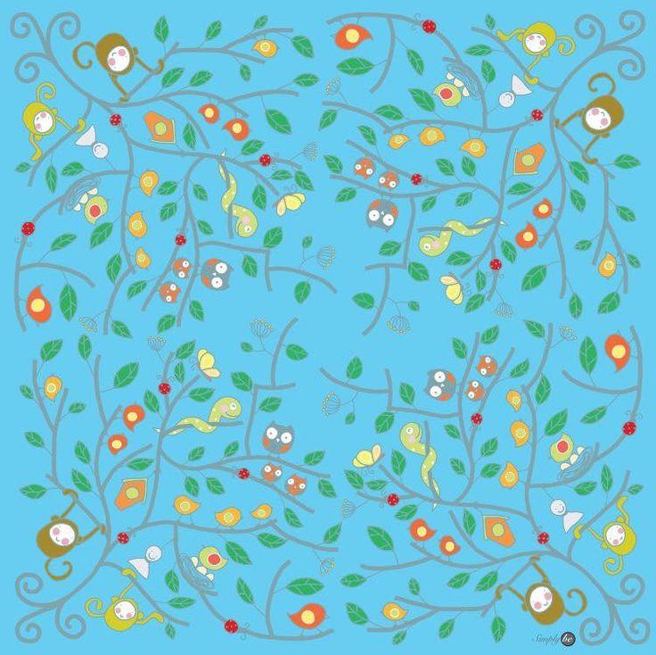 Scarf by Simply be, size 100x100 cm., Silk Satin fabric, Tree - blue