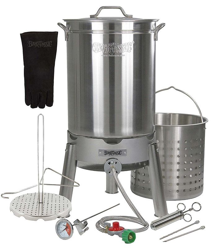 The Bayou Classic Big Bird Oversized Turkey Fryer Pot is a 44 quart stainless steel turkey fryer pot. It's the biggest pot made by Bayou Classic to fry a perfect turkey.