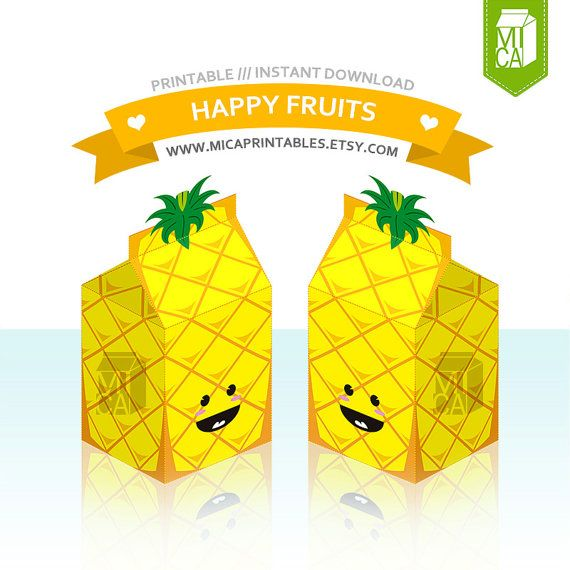 Happy Fruits Printable Party Favor Treat Gift by MicaPrintables #yellow #pineapple #fruits #milkcarton