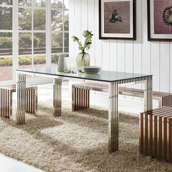 Gridiron Stainless Steel Dining Table, Silver - The conduit design of this Gridiron series installment artfully blends stainless steel tubing with a tempered glass table top. Modernism used to be about extremes. Wild shapes and patterns that don't dare resemble its predecessors. We've reached an age of maturity of sorts. We appreciate style, but all the more, we respect those designs that represent a blending of cultures. The Gridiron stainless steel dining table is famous not for its…