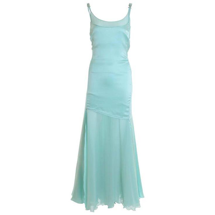 1990s GIANNI VERSACE Couture Mint Green Silk Long Dress