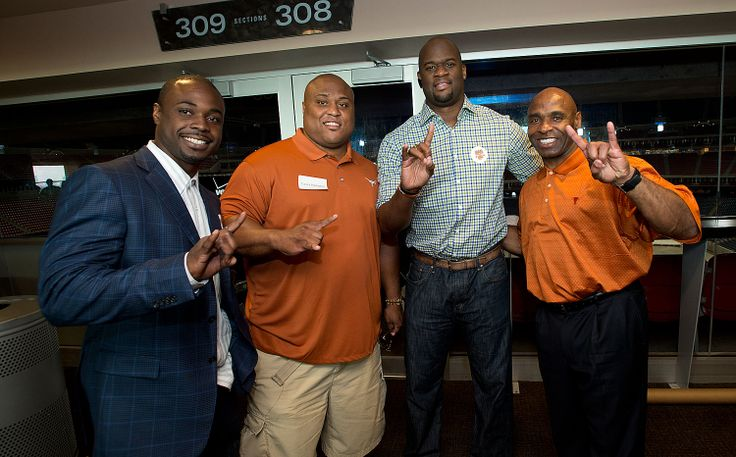 HOUSTON: Former Texas Football RB Selvin Young, DT Casey Hampton, and QB Vince Young greet Texas Football head coach Charlie Young on Wednesday, April 23 at Reliant Stadium in Houston. [2014 Texas Comin' on Strong Tour: Houston]