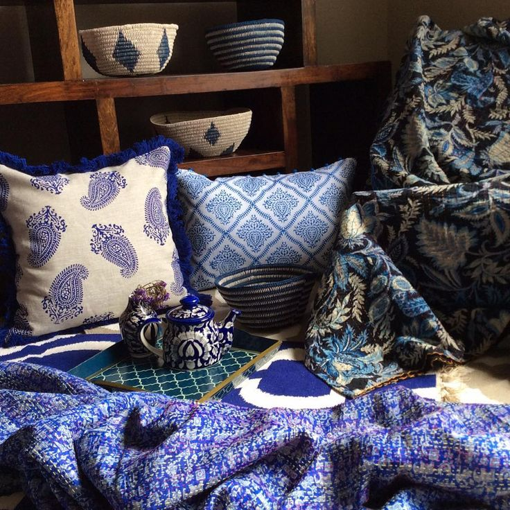 An indigo palette for tonight's inspo, I hope everyone's had a good start to this week!  #homedecor#homewares#indigo#cushions#bedspread#throws#paisley#bohodecor#interior#interiordesign#interiordecor#blueandwhite#colour#design#interiorinspo#interior123#interior444#interiorforall#handmade#handwoven#eclecticstyle#hamptons#bohemiandecor#bohemianstyle#decor#decorative