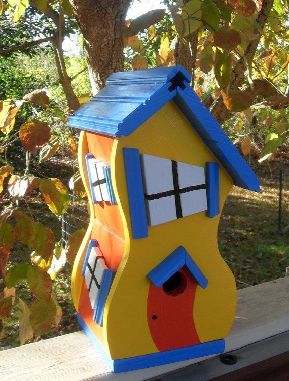 Dr. Seuss style Whimsical Birdhouse by DonnysYardArt on Etsy