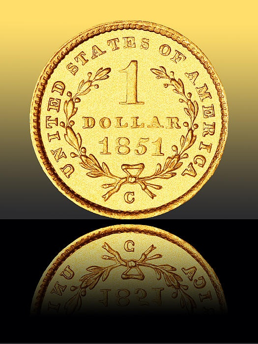 '1851 One Dollar Rare Charlotte Gold' Fine Art Photography by Jim Carrell. Pictured is a 1851 Charlotte, North Carolina minted Type 1 U.S. Gold One Dollar coin. This coin is very small, rare and beautiful! Please visit me at www.jimcarrellphotography.com
