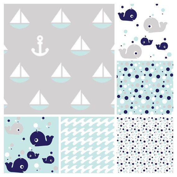 Nautical Baby Crib Bedding SET whales sailboats by TASbabyfactory