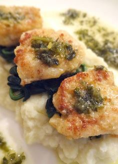 Monkfish with Cauliflower Purée & Wilted Spinach