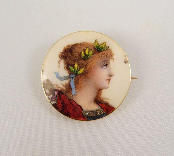 Delicate 1890s enamel portrait of beautiful by MidwestArtObjects