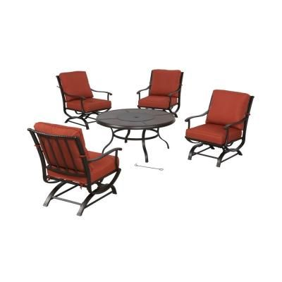 Hampton Bay Redwood Valley 5-Piece Patio Seating Set with Fire Pit and Quarry Red Cushions-FSS60428RST at The Home Depot