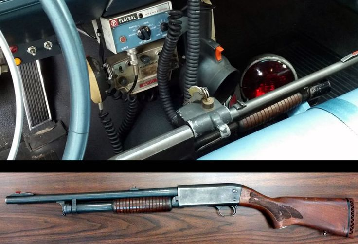 Ithaca Model 37 Deer Slayer Police Special shotgun as issued by the LAPD in its patrol car front seat mount.