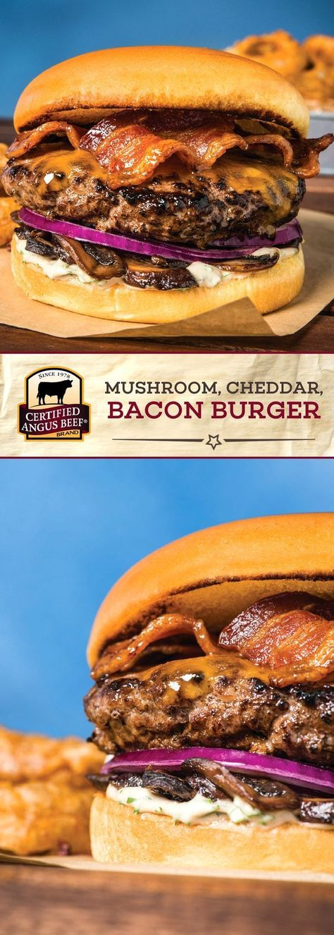 The Certified Angus Beef®️️️ brand Mushroom, Cheddar, and Bacon Burger combines the BEST ground chuck with portabella mushrooms, cheddar cheese, bacon and onion for a deeply FLAVORFUL burger recipe! A blend of condiments including Worcestershire sauce makes this burger stand out from the crowd. Perfect for game day! #bestangusbeef #certifiedangusbeef #beefrecipe #gamedayfood #burgerrecipe