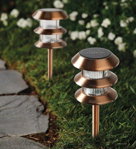 Stainless Steel Solar-Powered Path Lights, Pack of 4, in Bronze by Plow & Hearth. $39.99. Includes 2 rechargeable AA Ni-MH batteries. Solar Path Lights. Lights come on at dusk and off at dawn, automatically. Stainless steel body. Pack of 4. No-hassle Solar-Powered Path Lights come on automatically at dusk and go off at dawn, so your yard and garden is always ready to enjoy day or night. Insert the solar path light directly into the ground with the ground stake. Each spotlig...