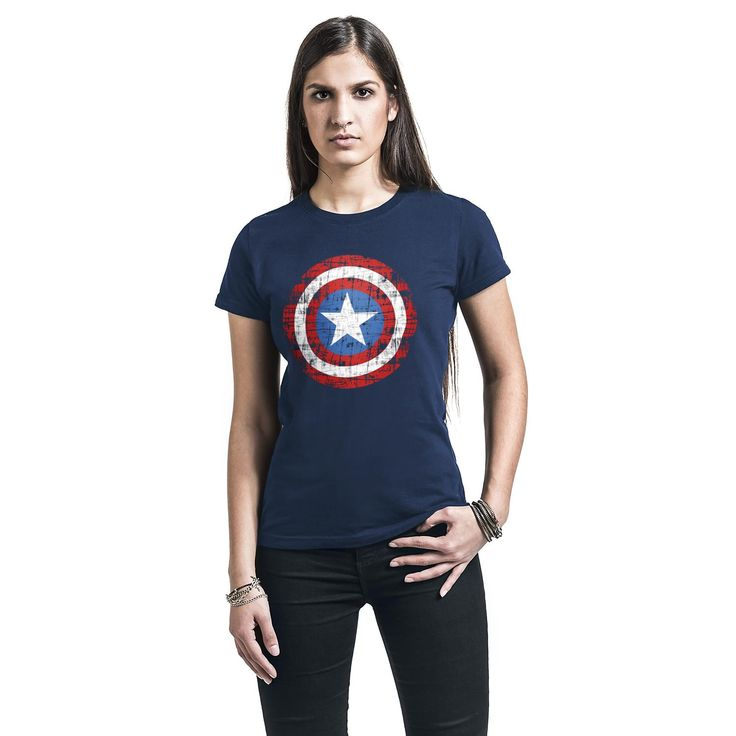 "Maglietta donna a maniche corte blu ""Logo"" di #CaptainAmerica."