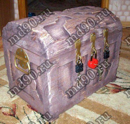 Сундук деревянный (45х30х35)