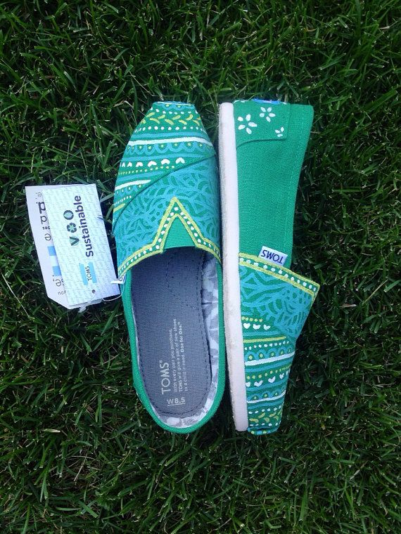 Hand painted TOMS in Green is Good by ChristinaEvertArt on Etsy, $89.00