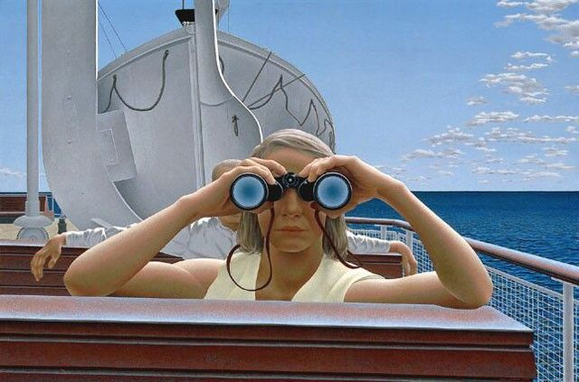 Alex Colville: To Prince Edward Island, 1965. Acrylic polymer emulsion on masonite. 61.9 x 92.5 cm. Collection of the National Gallery of Canada.