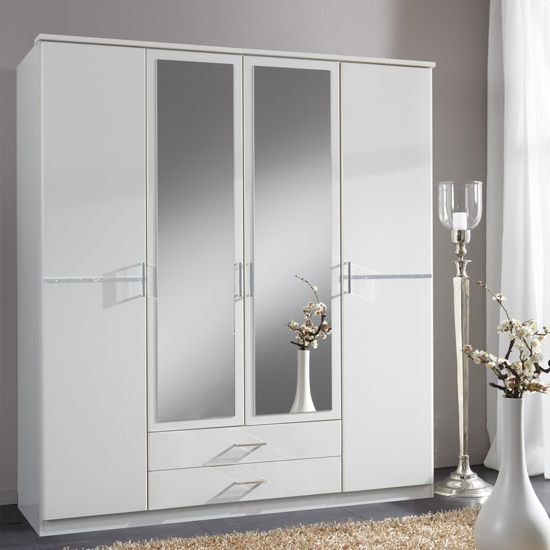 Florence White Wardrobe With Diamante 4 Door 2 Drawer 2