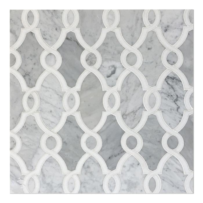 Bellegio Polished Thassos Carrara Marble Water Jet Mosaic Tile