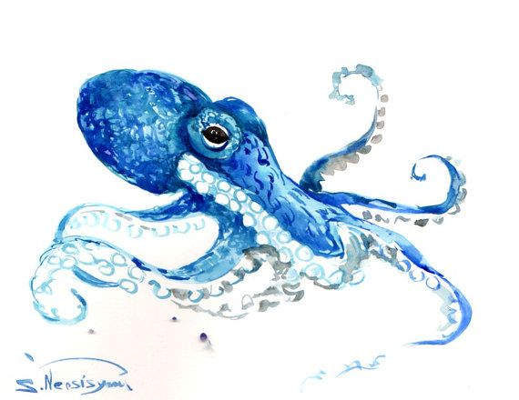 Octopus Oriignal Watercolor Painting Blue Sea