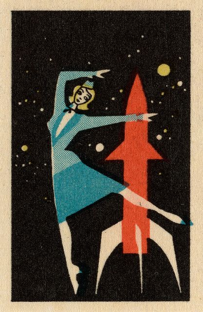 Forget rocking around the clock, it's all about the rocket ;) } 1950's - 1960's Polish Matchbox label.