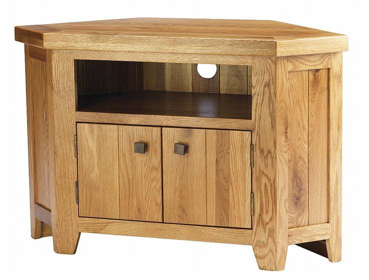 York Solid Oak Chunky Corner Tv Unit Cabinet Furniture