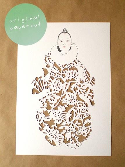 Stunning papercut fashion illustration by Thetimeisnow