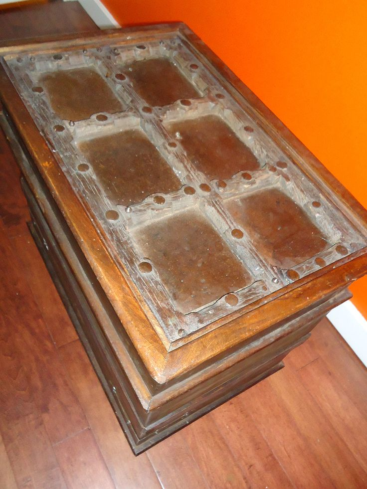 This is the trunk in my studio. The top of it is an old window shutter from India.