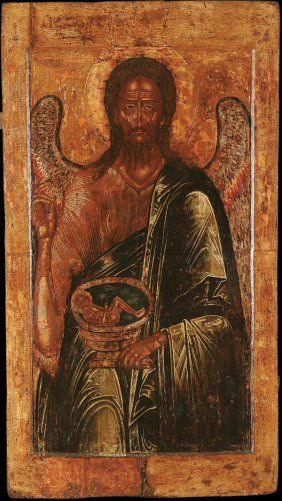 AN IMPORTANT RUSSIAN ICON: St. John the Forerunner; 16th century.    Sold for $55,000