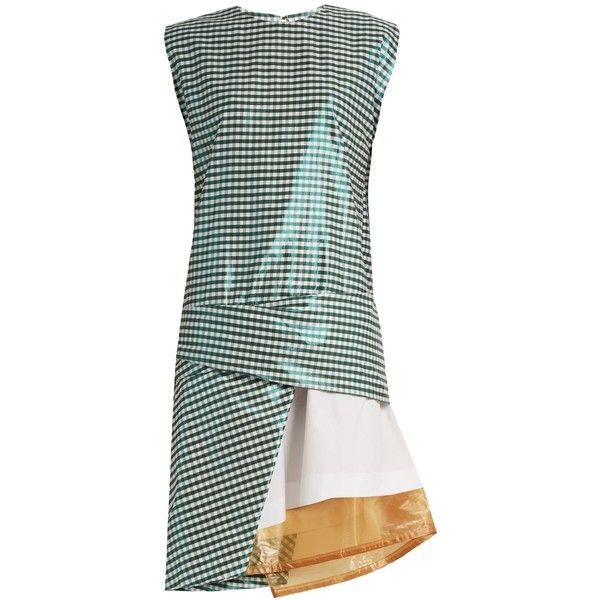 Toga Gingham layered cotton-blend dress (€660) ❤ liked on Polyvore featuring dresses, green holiday dress, green cocktail dress, drape dress, green dress and metallic evening dress