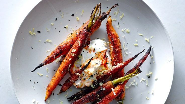 These spice-crusted carrots with harissa yogurt are sweet, spicy, and tangy.