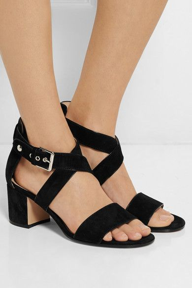 Heel measures approximately 60mm/ 2.5 inches Black suede Buckle-fastening ankle strap
