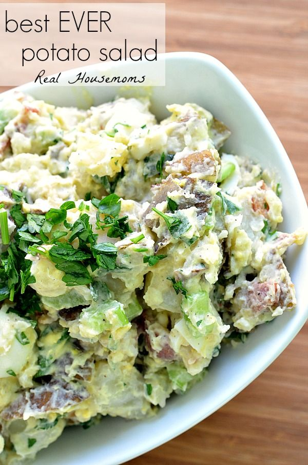 Best EVER Potato Salad | Real Housemoms | #potatosalad #recipe #BBQ everything minus the bacon.