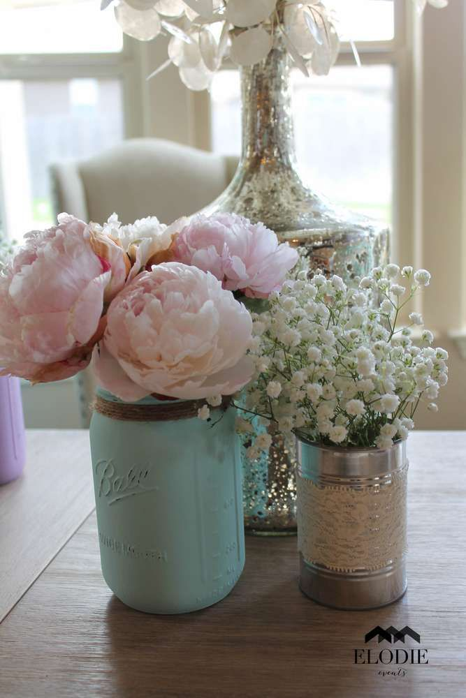 Shabby chic baby shower party mason jar vases! See more party ideas at CatchMyParty.com!