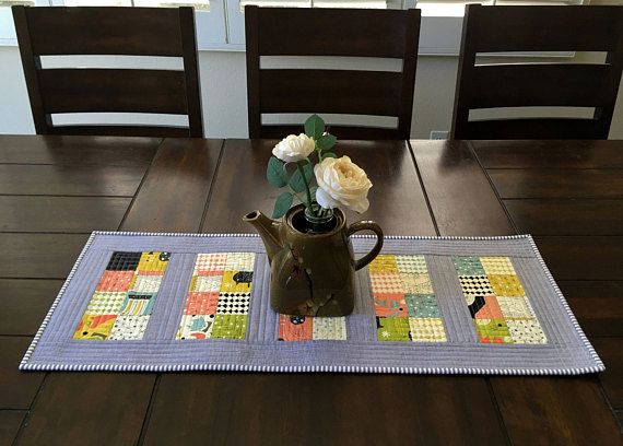 Quilted Table Runner, Mid Century Modern Table Runner, Contemporary Table Runner, Gray Table Runner, Table Decor, Quilted Table Topper
